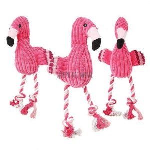 Squeaky Flamingo Plush Dog Toy