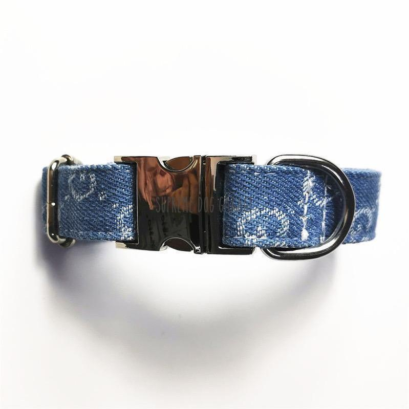 GG Prime Denim Dog Collar & Leash Set