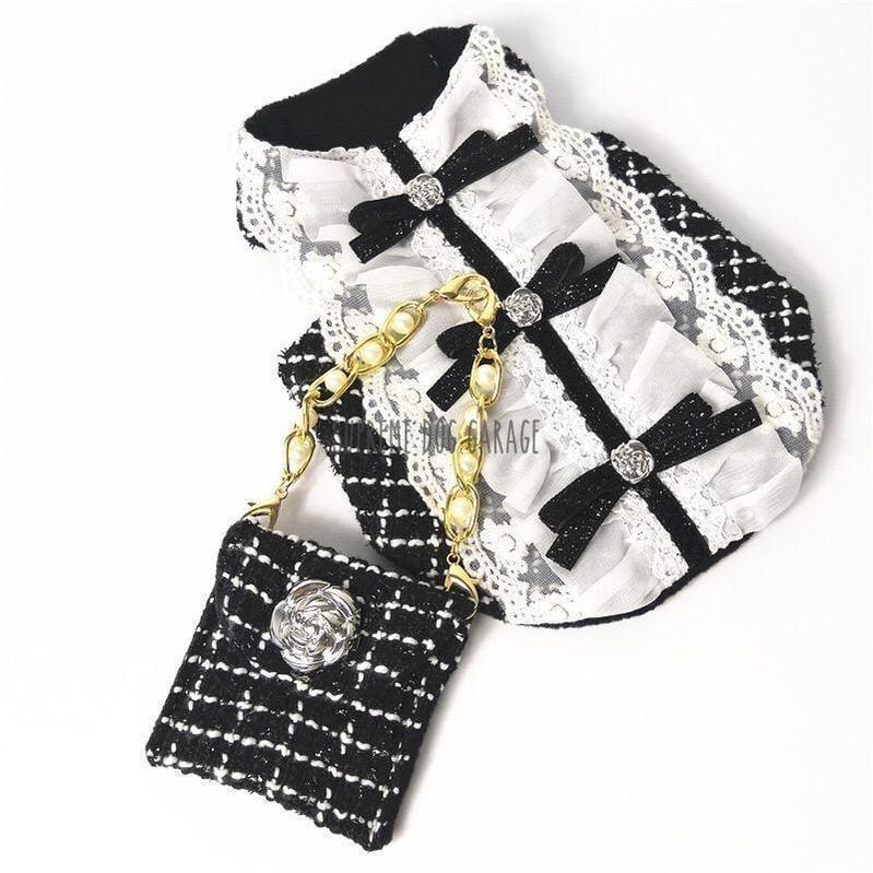 Coco La Belle Designer Dog Dress With Bag Set
