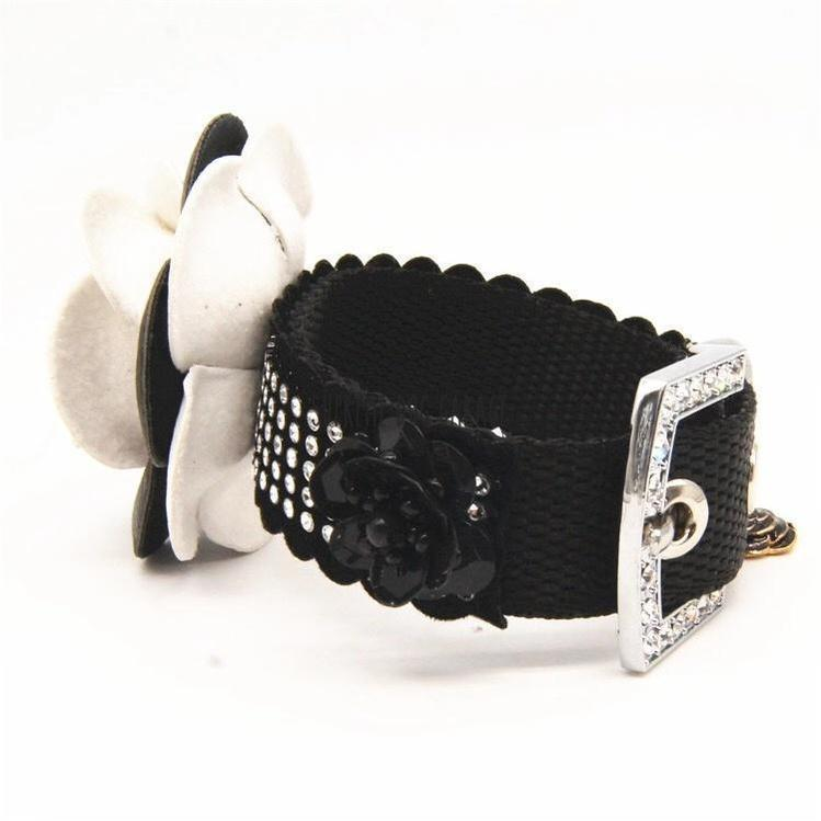 Chewnel Black Rose Designer Dog Collar & Leash
