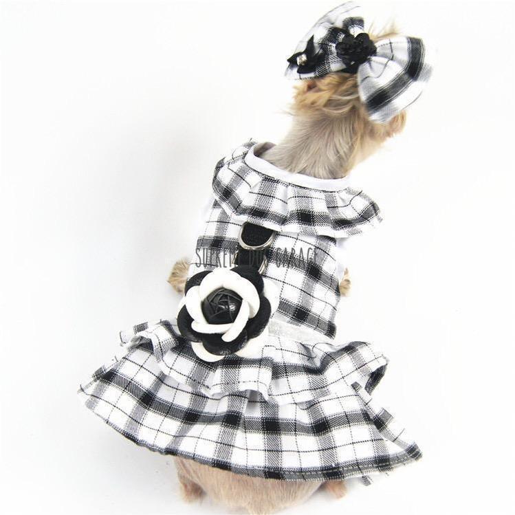 Chewnel Black Rose Designer Dog Dress Harness With Leash (set)