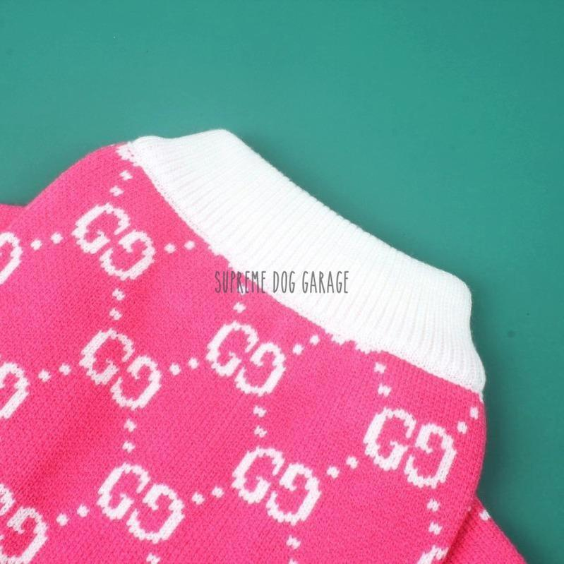 Pink Flamingo GG Designer Dog Sweater