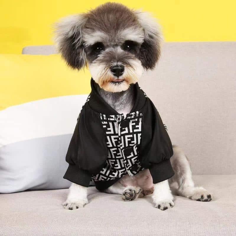 Furdi Black & White Dog Bomber Jacket