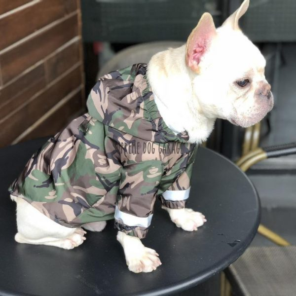Camo Dog Raincoat With Reflective Stripes