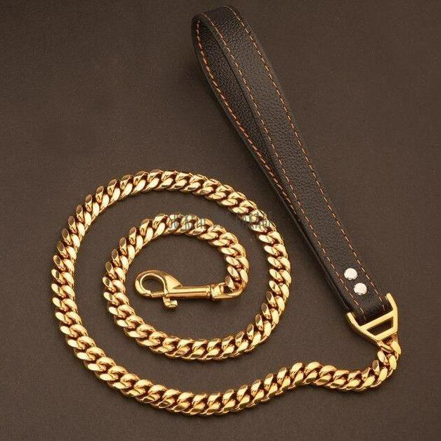 Cuban Link 14mm Gold Dog Leash