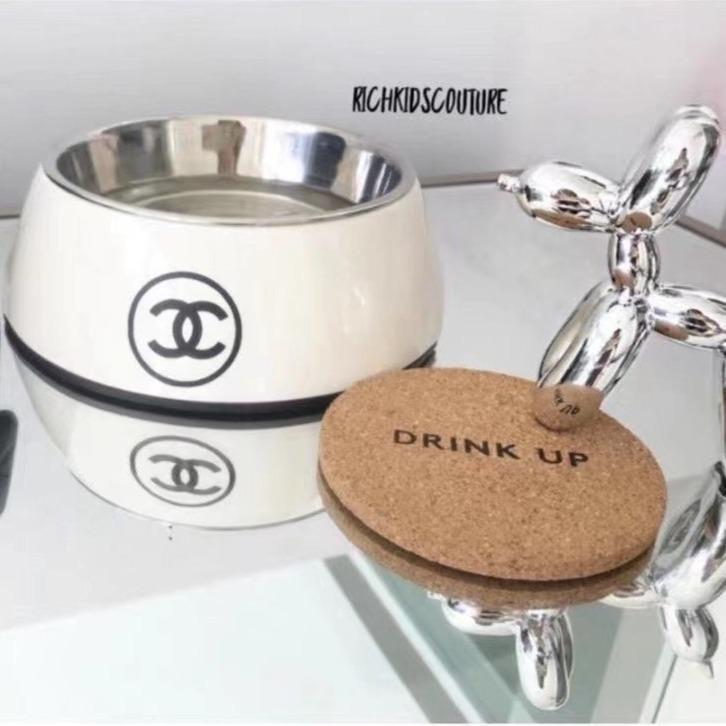 White CC Stainless Steel Dog Bowl