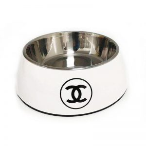 White CC Stainless Steel Dog Bowl