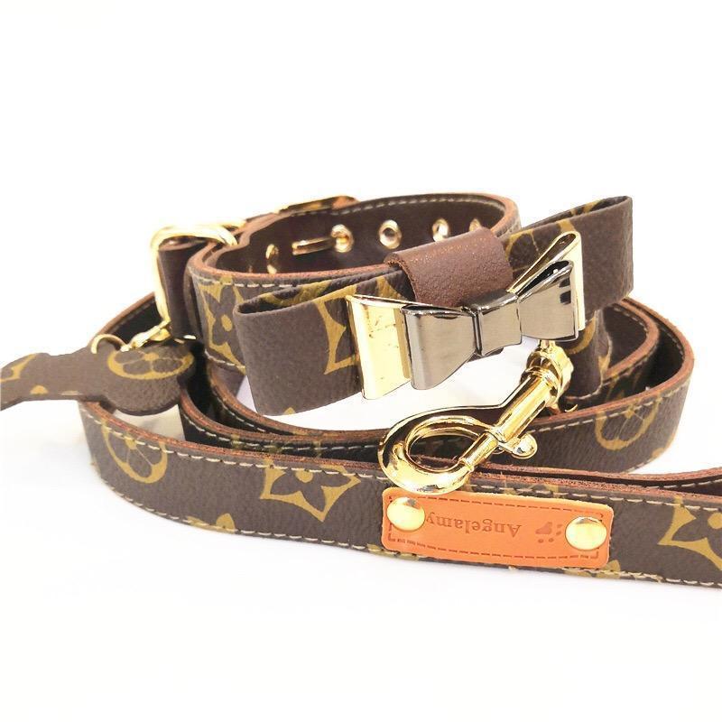 lv dog collar and leash set