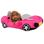 pink car dog bed