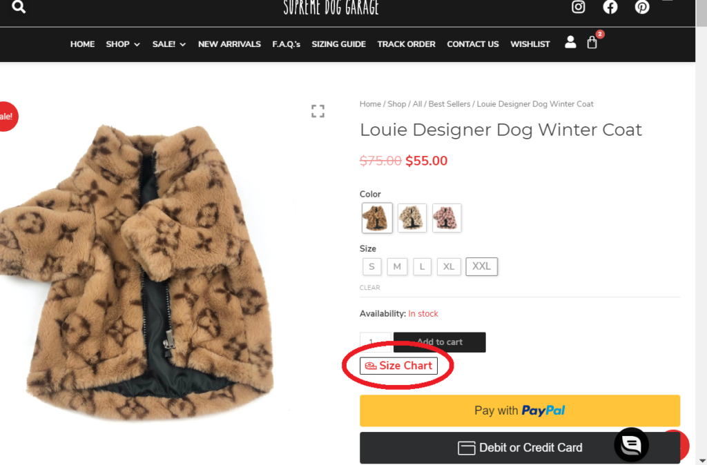 size chart dog clothes